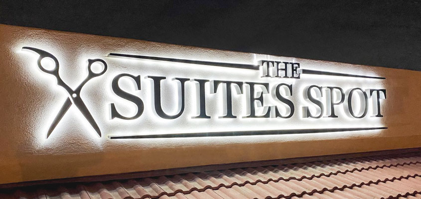 Image showing backlit letters for the outdoor design for The Suites Spot