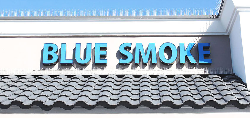 Blue Smoke sign example for channel letter sign price analysis