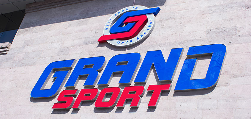 Grand Sport colorful channel letters showing the brands identity