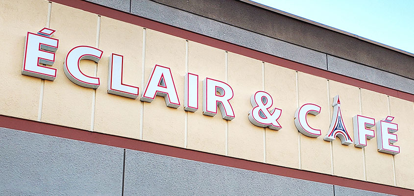 Direct mounted channel letter example from Eclair & Cafe