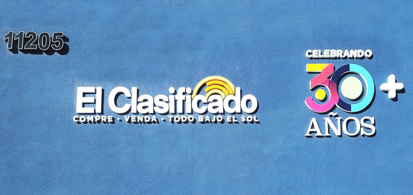 Sign example from El Clasificado for signage design inspiration