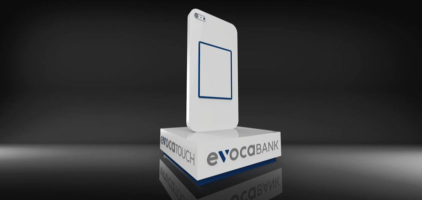 Signage design idea in a 3D rendered model for Evocabank