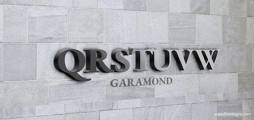 Showcasing Garamond channel letter font example