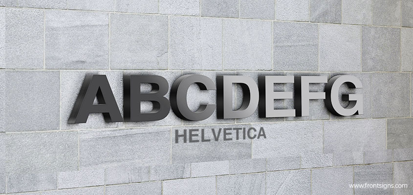 Showcasing Helvetica channel letter font example
