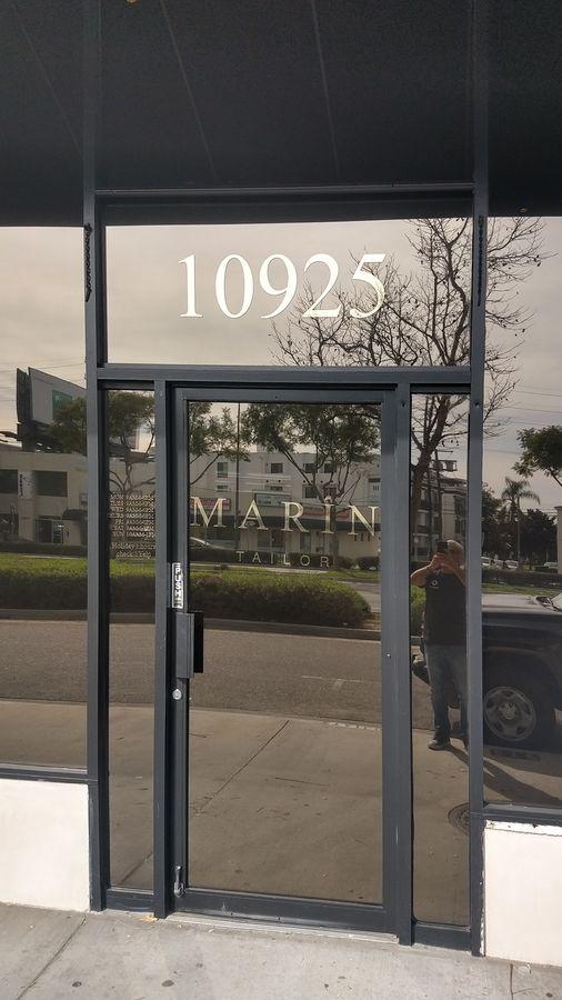 Marin Tailor window decal