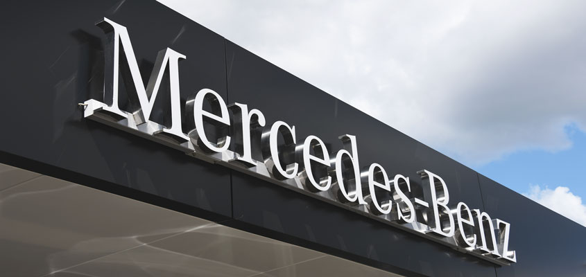 Sign example from Mercedes Benz for signage design inspiration
