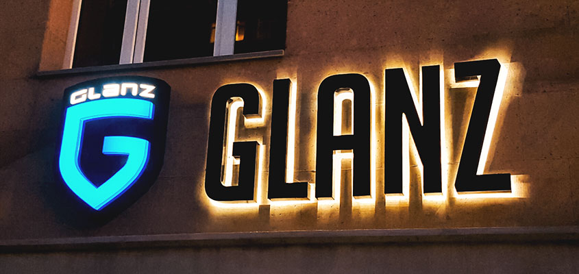 Sign example from Glanz for showing what an illuminated channel letter is