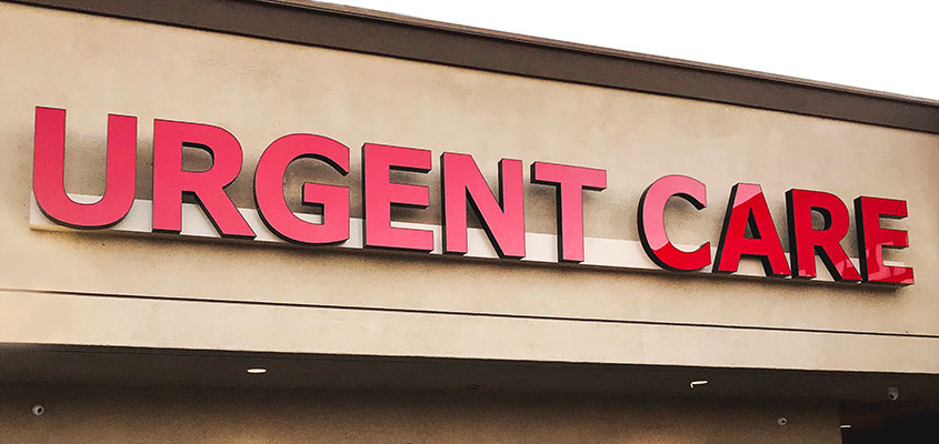 Urgent Care sign as an example of what a raceway sign is
