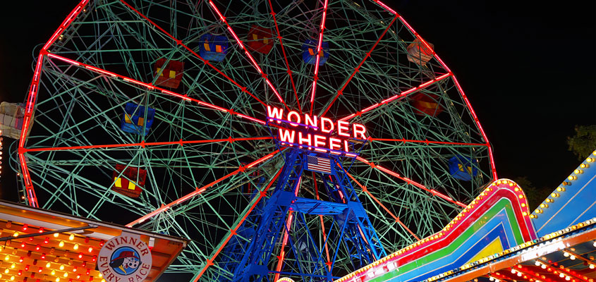 Outdoor signage design idea from Wonder Wheel