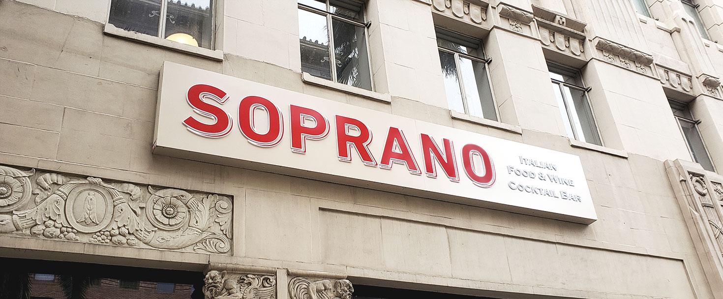 Soprano-restaurant-illuminated-sign