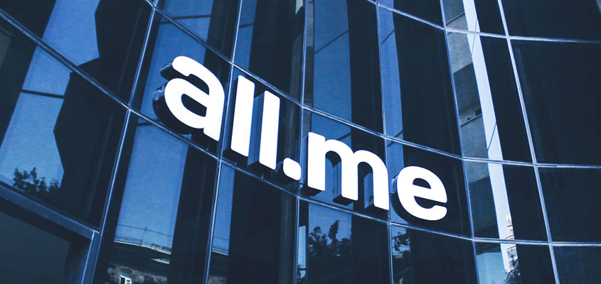All.me channel letters definition on the façade of the building