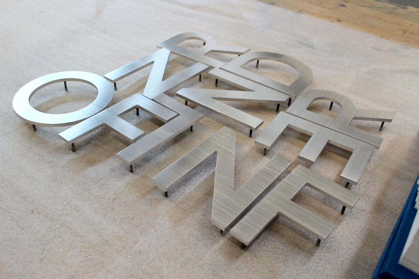 brushed dimensional letters