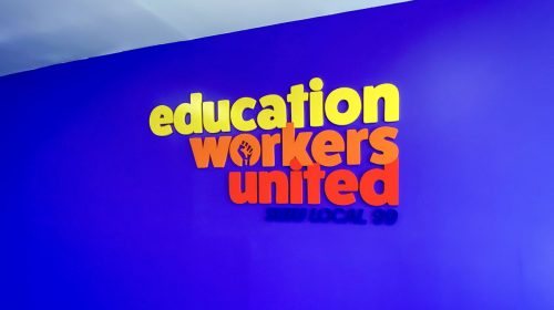 Education Workers United custom 3d sign painted in multiple colors made of acrylic