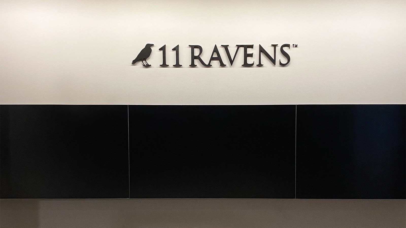 11 Ravens 3d acrylic letters and logo sign painted in black color for billiards supply store office interior branding