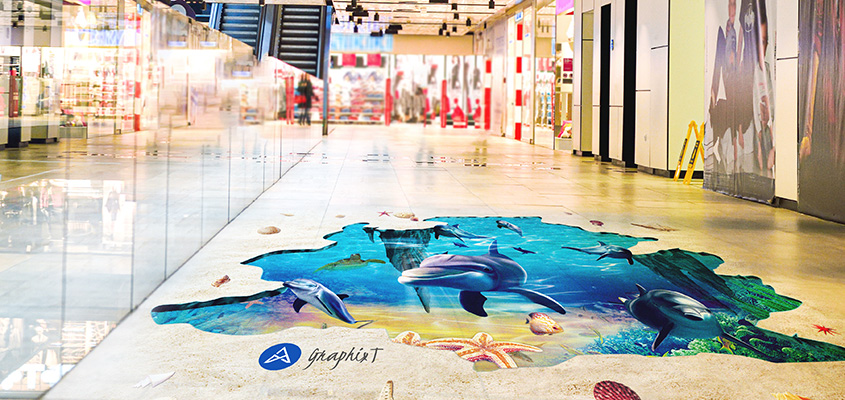 Image showing 3D floor graphics as a corporate branding solution