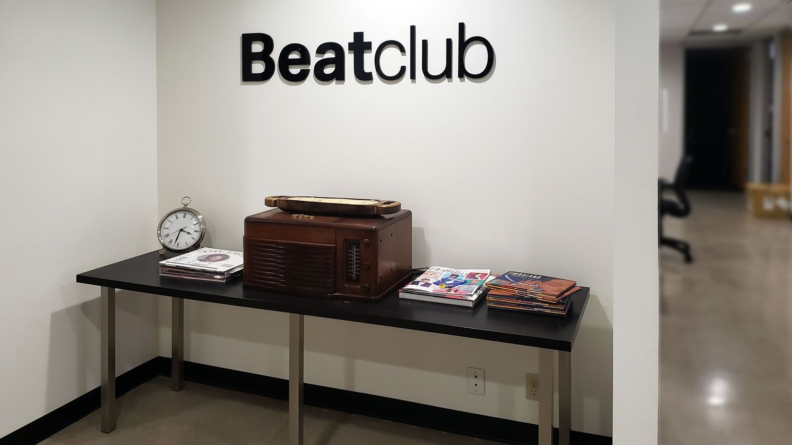 Beatclub 3d acrylic letters sign in a bold style displaying the brand name for corporate office interior branding