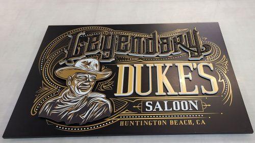 Duke's saloon 3d sign