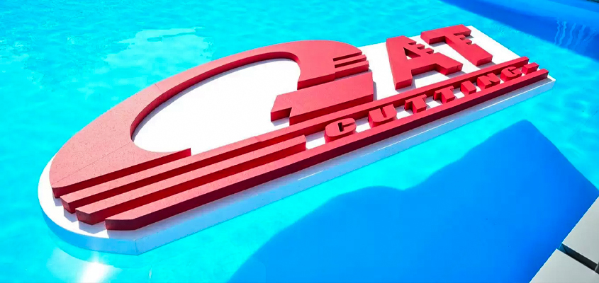 Image showing 'GAT CUTTING' floating signs as a creative corporate branding idea