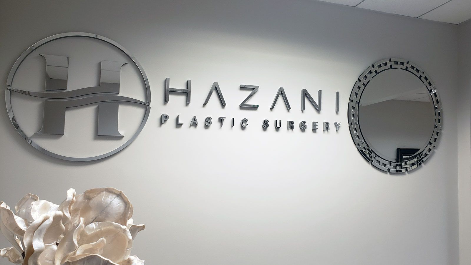 Hazani Plastic Surgery 3d acrylic letters and logo sign with a mirroring effect