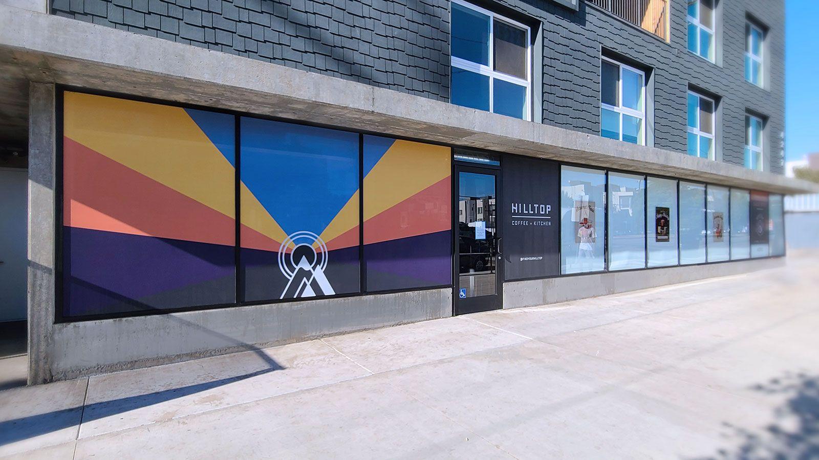 Hilltop storefront window decals