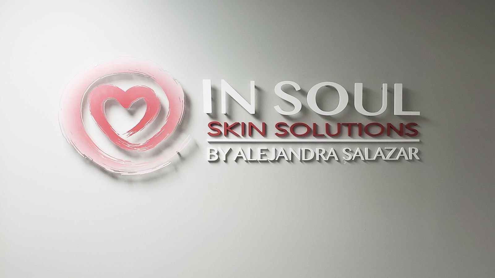 In Soul Skin Solutions 3d office sign with the company name and logo made of acrylic