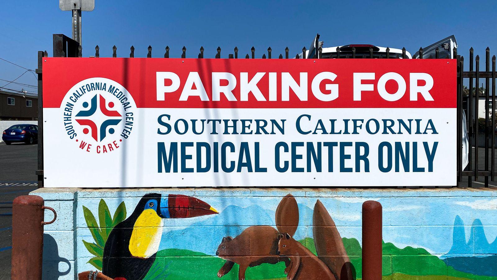 Medical center parking sign