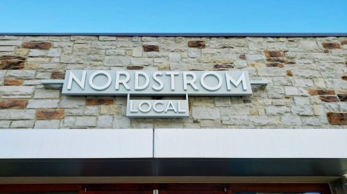 Nordstrom Local 3d sign displaying the name of the company made of aluminum and acrylic for storefront branding