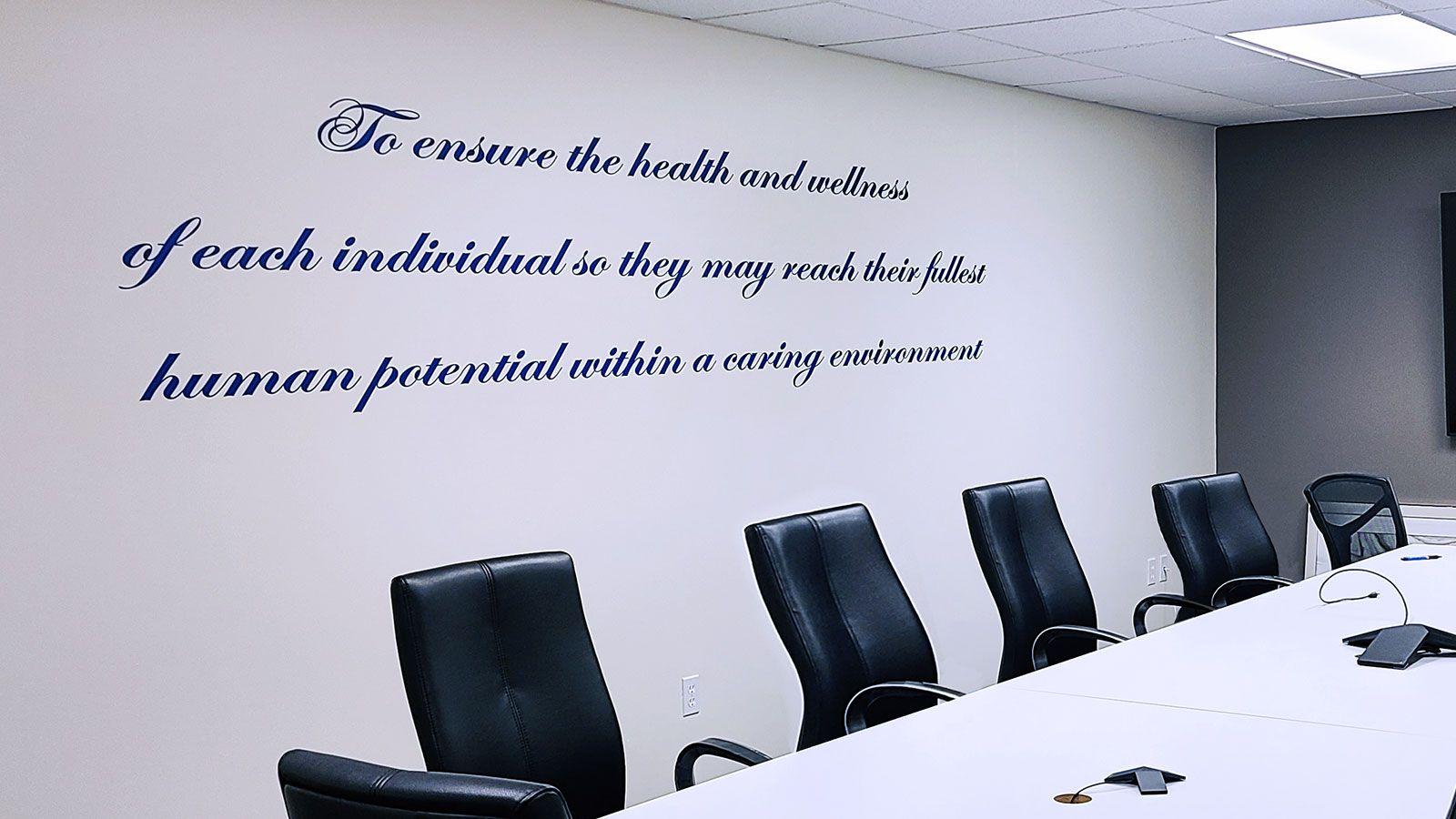 Office wall vinyl lettering