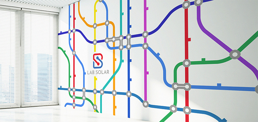 Image showing a schematic map as a part of business wall branding