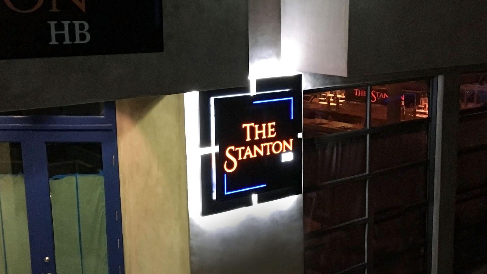 The station backlit sign