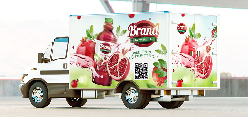 Image showing vehicle vivid colors and QR code as a corporate branding design idea