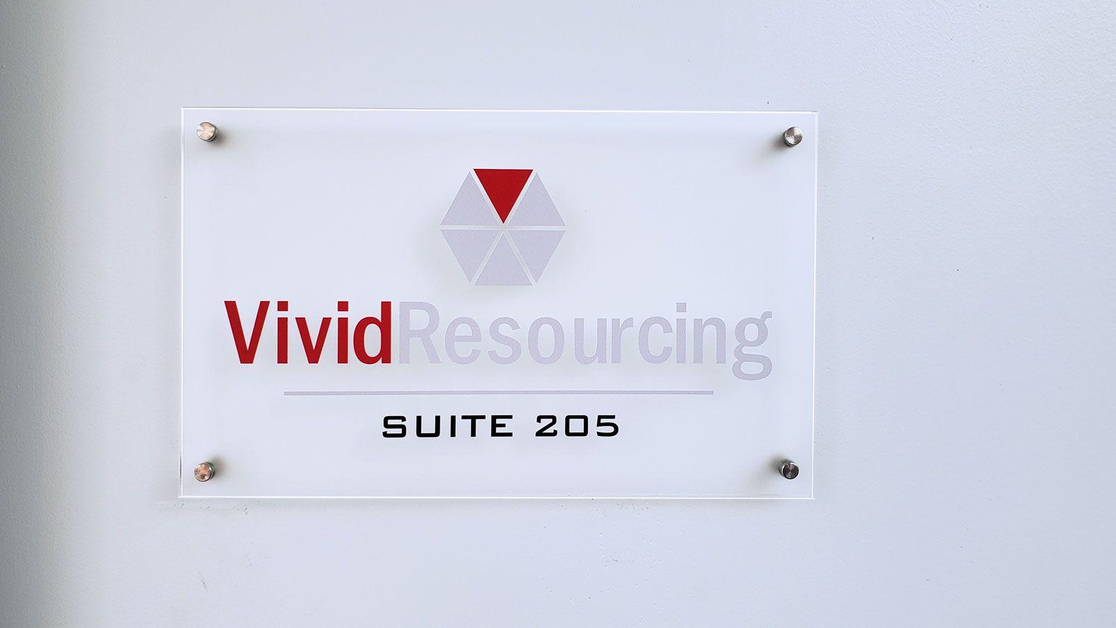 Vivid Resourcing acrylic sign