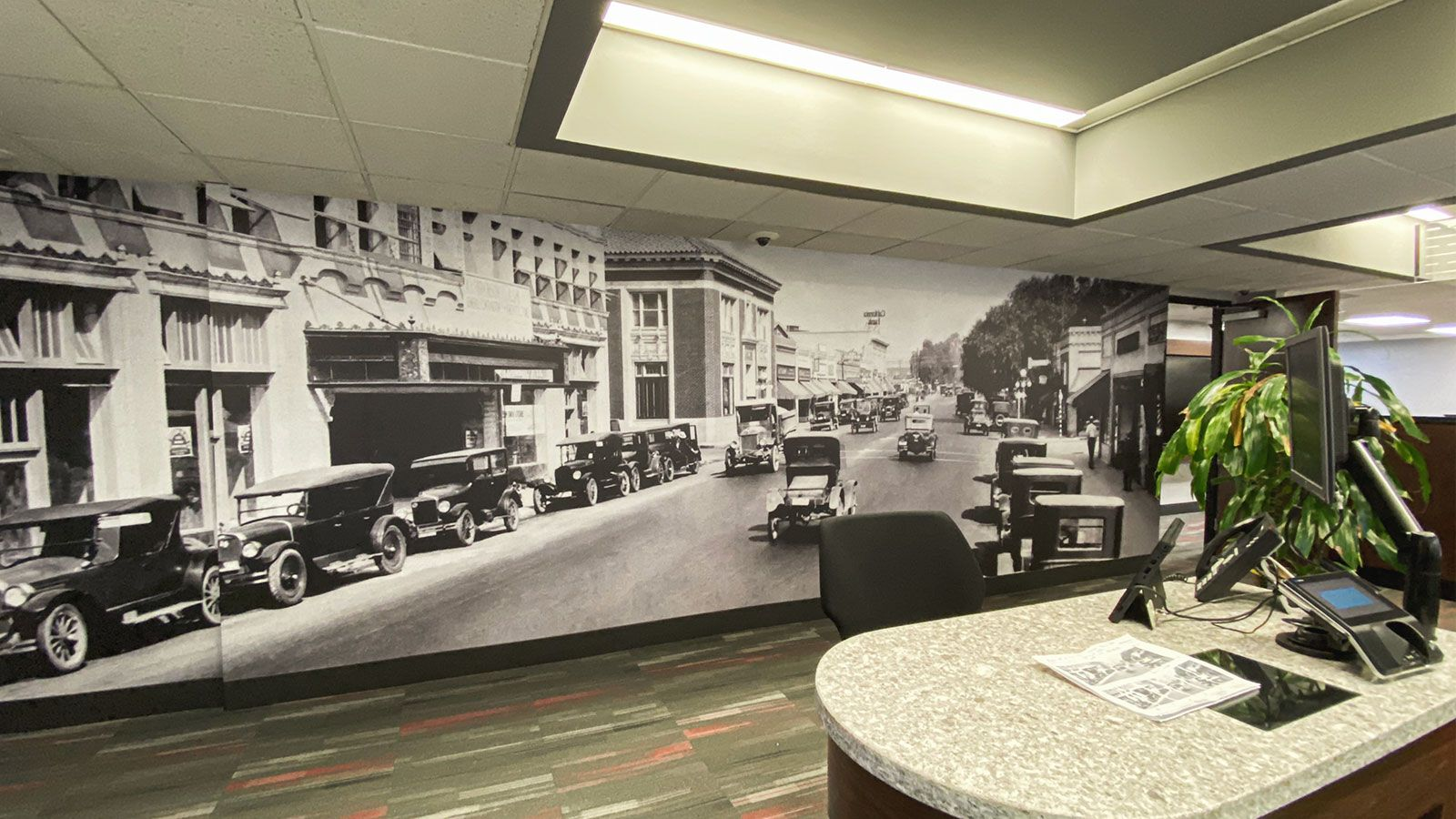 custom interior wall sign with retro images of a city street made of opaque vinyl for office indoor branding and decorating