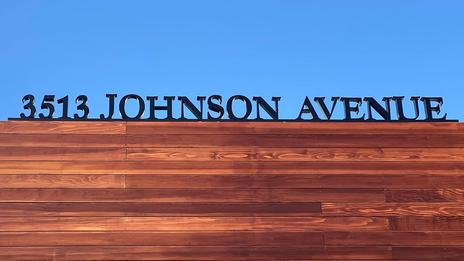 Johnson Avenue 3d sign letters and numbers in a large size made of acrylic for displaying the business address on the rooftop