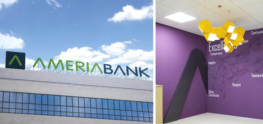 Ameria Bank company branding examples from the bank's interior and exterior designs