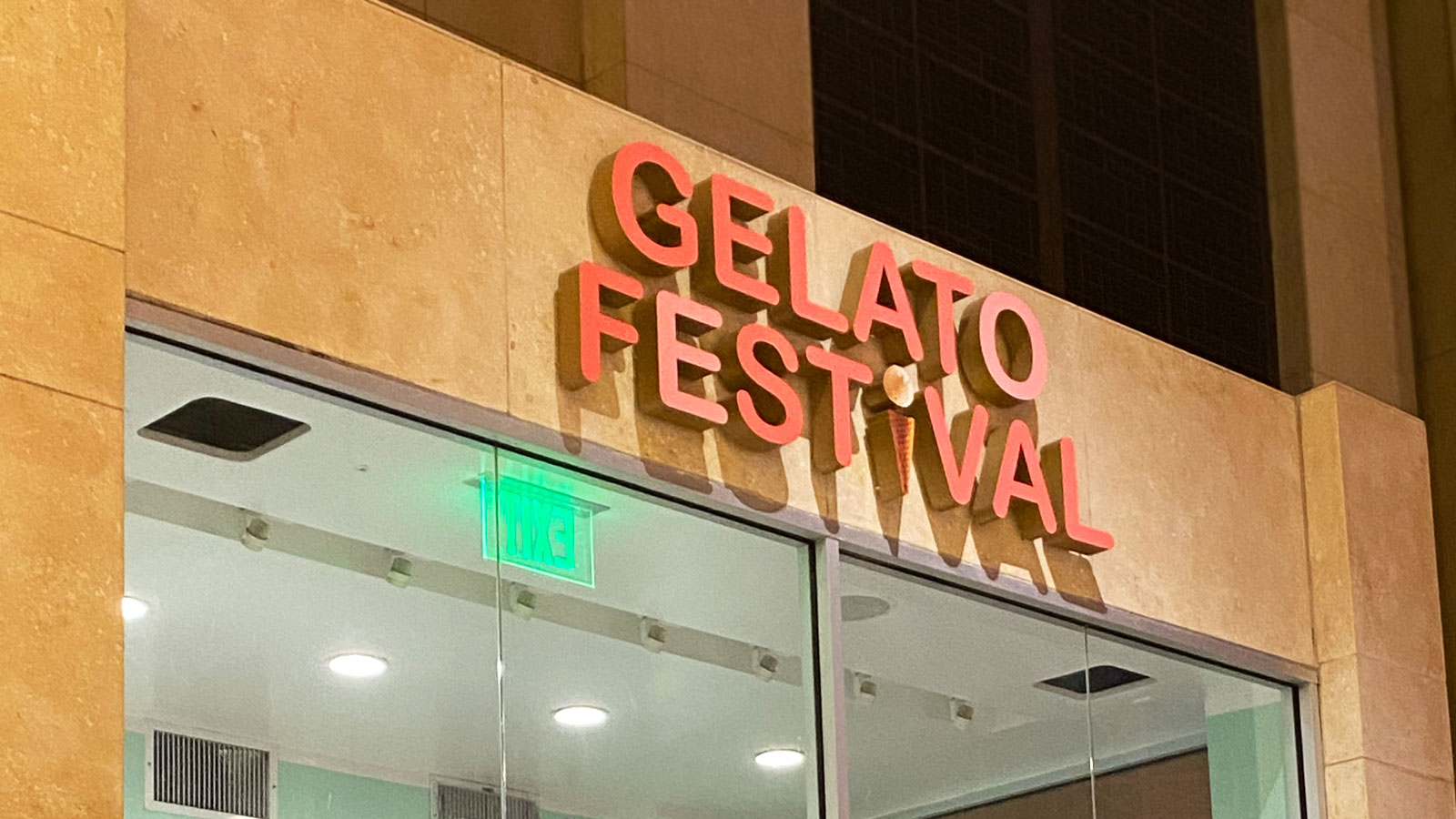 Gelato Festival storefront channel letters
