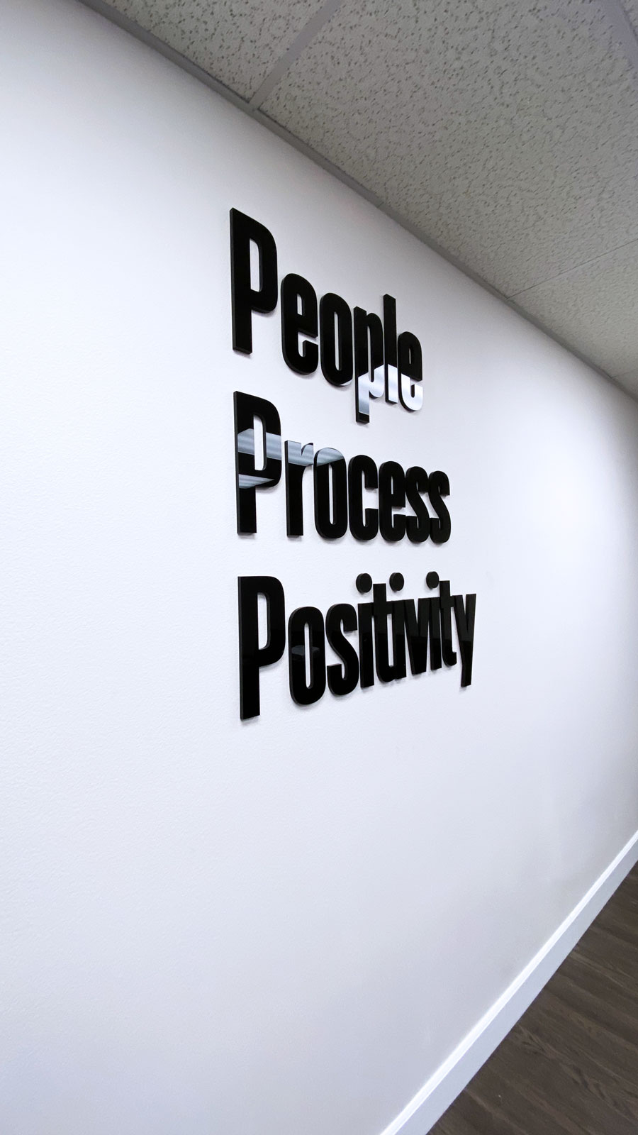 Motivational office sign with 3D letters