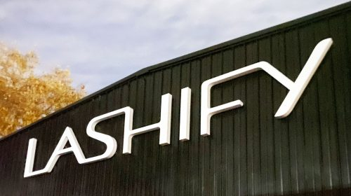 Lashify 3d channel letter sign in big size with the brand name made of acrylic and aluminum