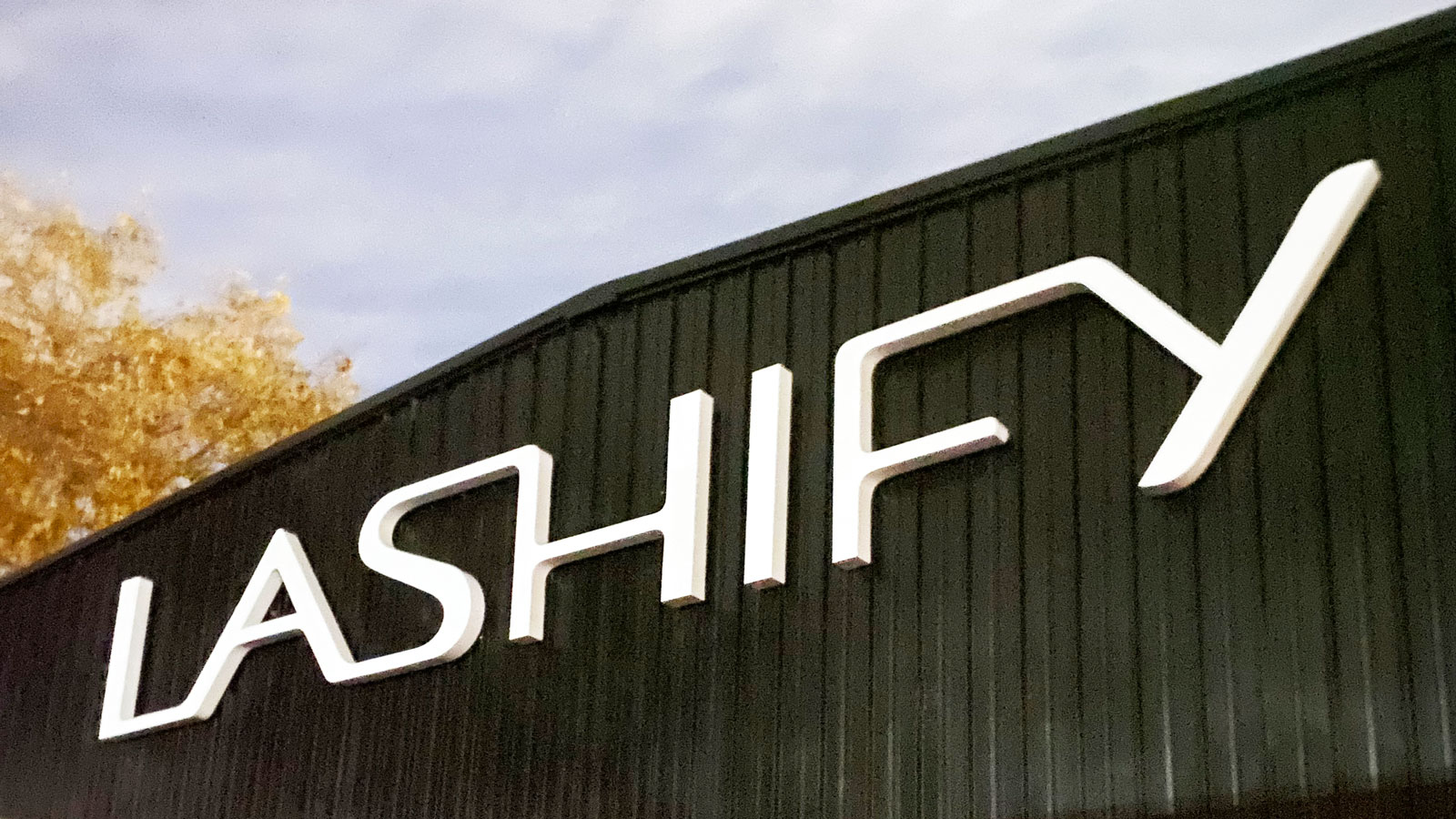 Lashify custom channel letters with LED lights
