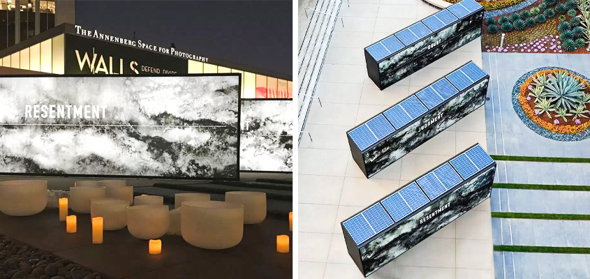 Eco friendly campaign idea with solar energy powered outdoor signage