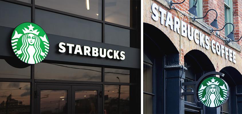 Outdoor branding examples from Starbucks