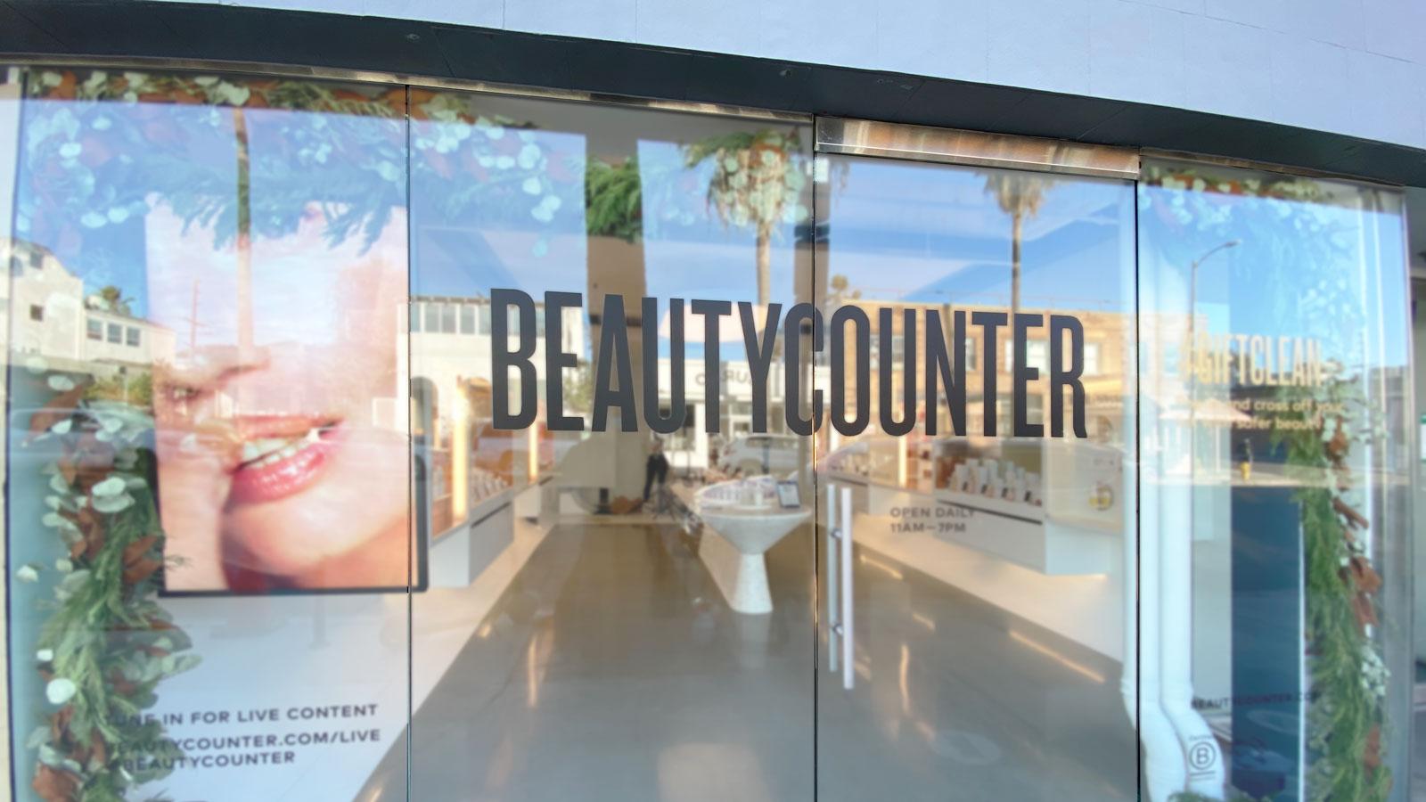 beautycounter storefront vinyl lettering