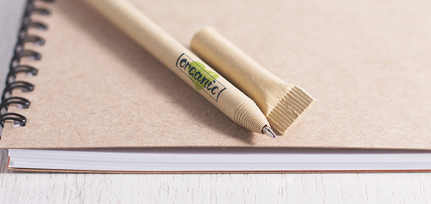Eco pen with logo as a part of green marketing ideas