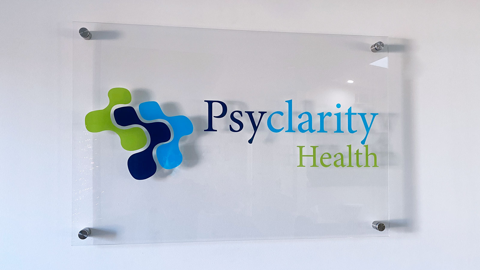 Psyclarity Health office sign made of acrylic