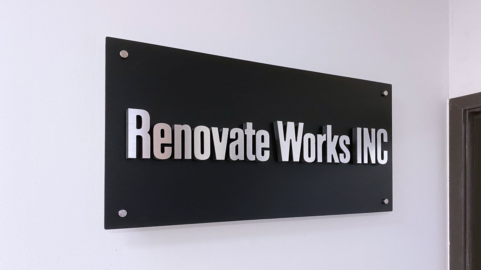 Renovate Works Inc. office 3D letter sign