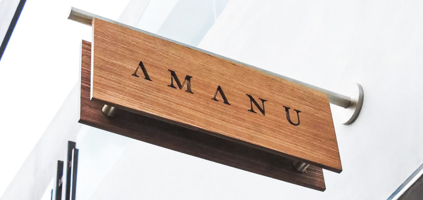 Eco friendly advertising idea with an outdoor wooden nameplate