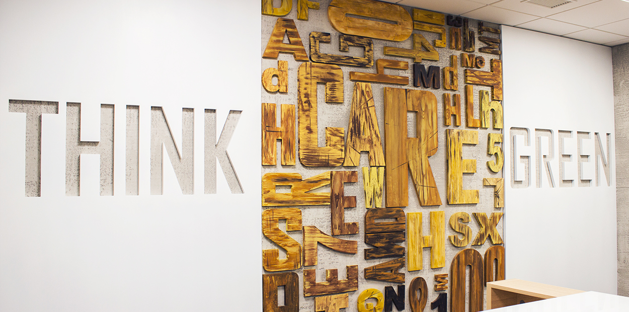 Ameriabank green marketing example with wooden decorative elements
