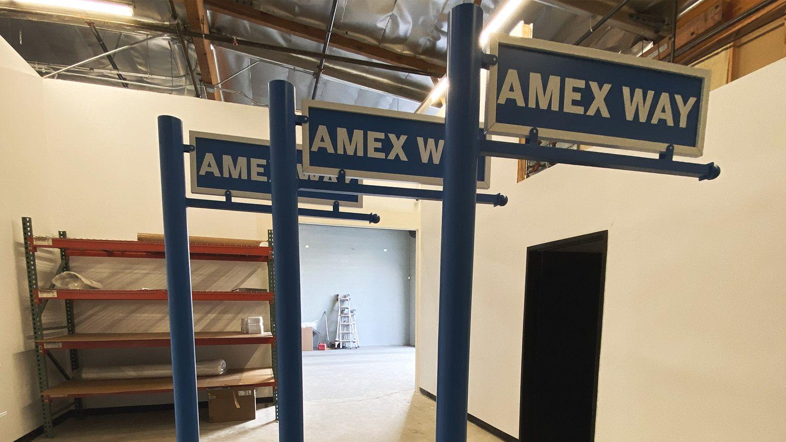 Amex Way dibond stands