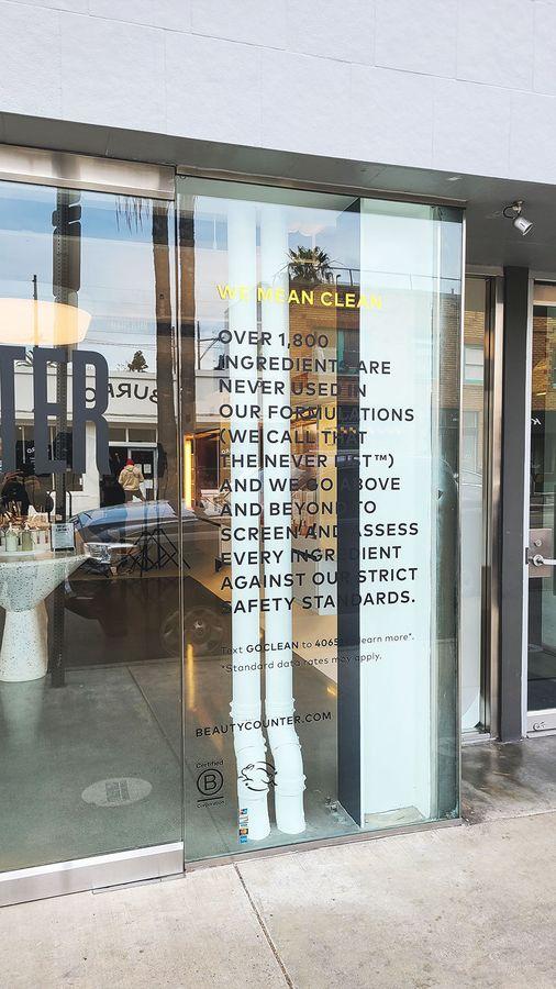Beautycounter store vinyl lettering