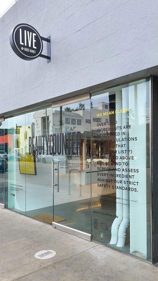 Beautycounter window vinyl lettering